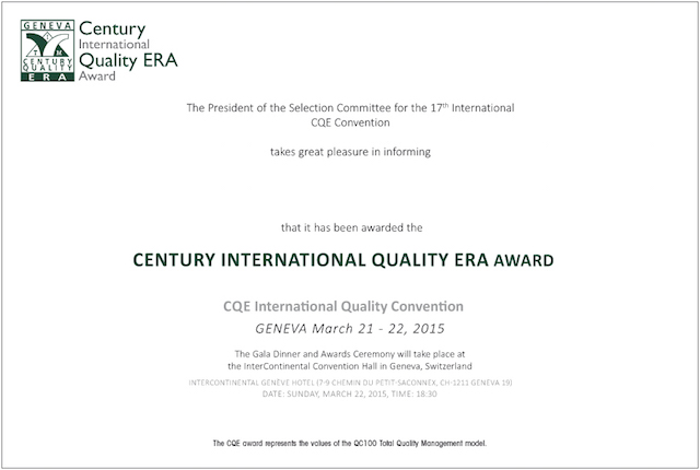 Century Quality International ERA Award at Geneva Mar'15
